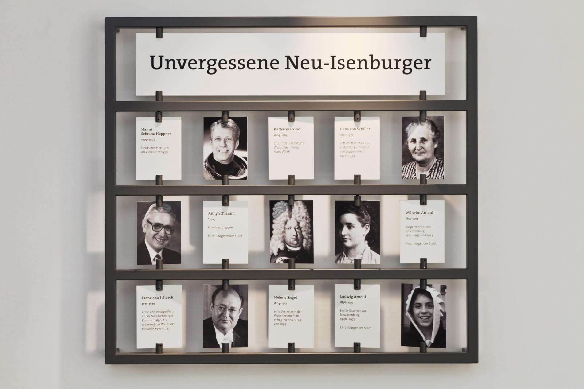 """Museumsstation """"Unvergessene Isenburger"""" mit kleinen und großen Berühmtheiten unter Anderem aus Politik, Sport, Luft- und Raumfahrt"""
